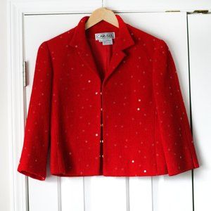 Carlisle cropped sequin red blazer jacket